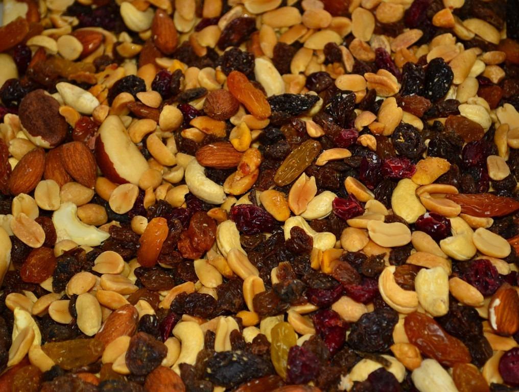 trail mix, nuts, raisins